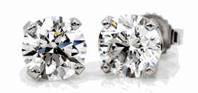 14K White Gold 1/3 Carat Round Diamond 4-Prong Stud Earrings