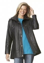 Women's Plus-Size Leather Jacket