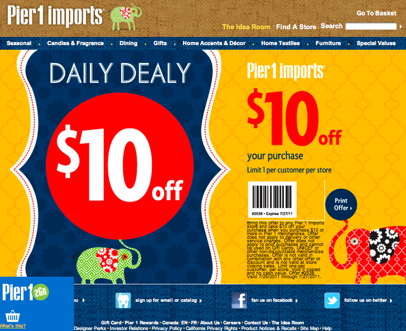 Pier 1 discount coupon