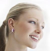 Pink & White Crystal Hoop Earrings