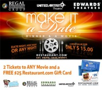 2 Movie Tickets & $25 Restaurant.com Gift Card