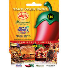 $10 Chili's, Macaroni Grill, On the Border or Maggiano's Gift Card