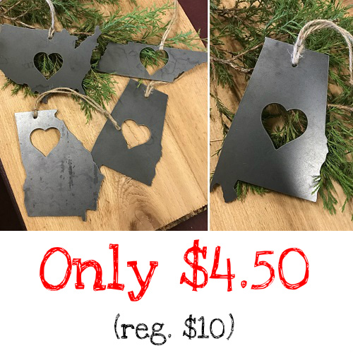 55% off State Love Metal Ornaments : Only $4.50