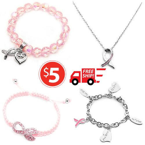 Up to 62% off Pink Ribbon Jewelry : All Styles $4.97 + Free S/H