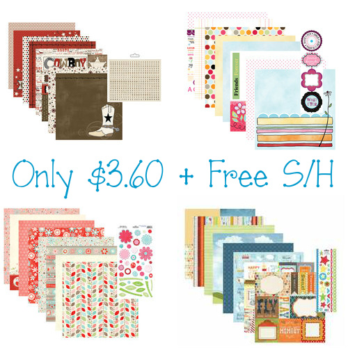 64% off Scrapbook Paper Kits : Only $3.60 + Free S/H