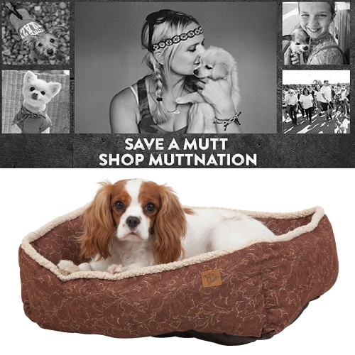 50% off MuttNation Lambswool Tooled Leather Printed Lounger : Only $19.99 + Free S/H