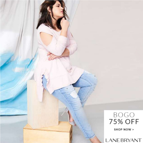 Lane Bryant : Buy One, Get One 75% off Storewide