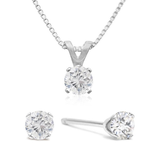 77% off Diamond Earring and Pendant Set : Only $89.99 + Free S/H