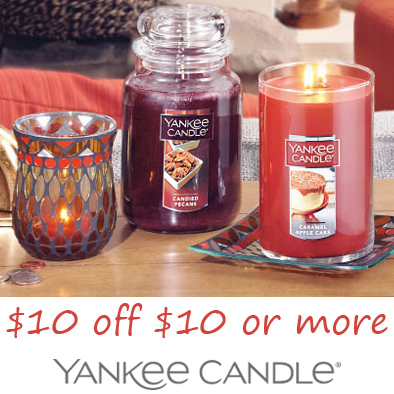Yankee Candle : $10 off $10 or $50 off $100
