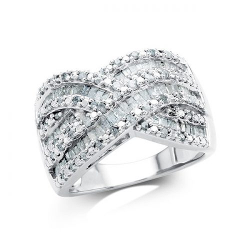 1CT Diamond Crossover Ring : $99 + Free S/H