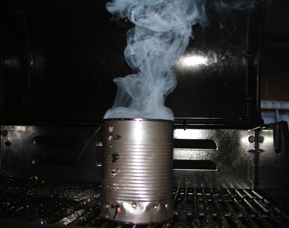 How to smoke meat on a gas grill using a tin can