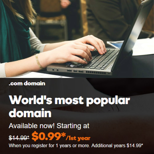 93% off at GoDaddy : 99¢ .com Domain Name