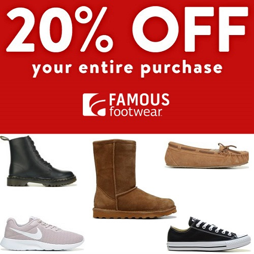 Famous Footwear Coupon : 20% off any order