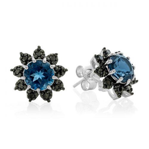 Topaz and Black Diamond Earrings : $27.20 + Free S/H