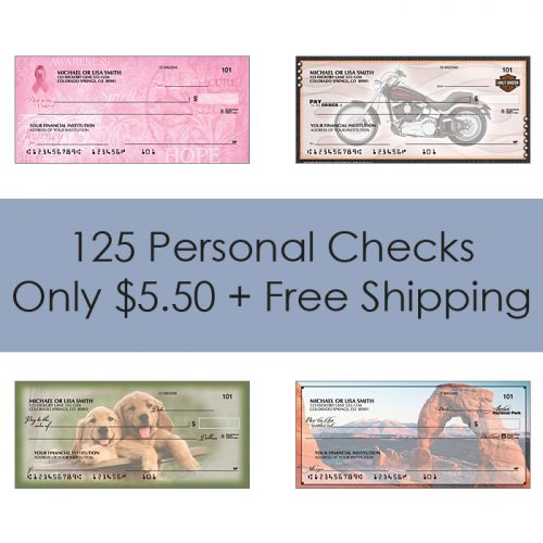 Up to 81% off 125 Personal Checks : $5.50 + Free S/H