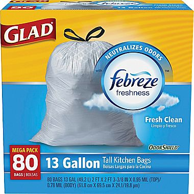 "80-PK of Glad OdorShield Kitchen Trash <span class=""search-everything-highlight-color"" style=""background-color:orange"">Bags</span> : $9.99"