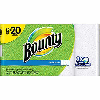 Bounty 12 Giant Rolls : $15.99 + Free S/H