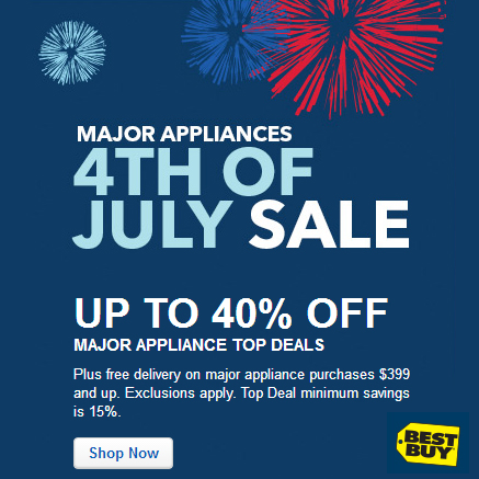 Best Buy : Up to 40% off Major Appliances