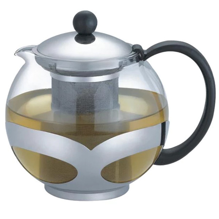 Stainless Steel and Glass Teapot with Strainer : $19.99 + Free S/H