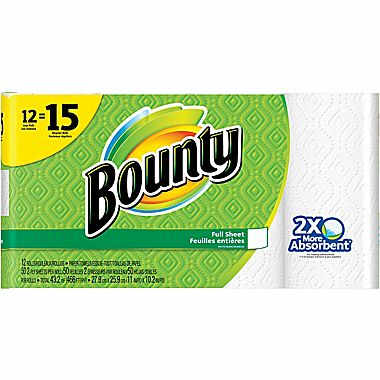 12-Pk Large Roll Bounty Paper Towels : $11.99