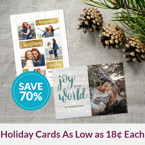 70% off Custom Holiday Cards : Starting at 18¢ Each