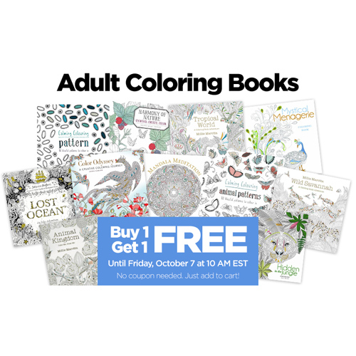 Adult Coloring Books : Buy 1, Get 1 Free