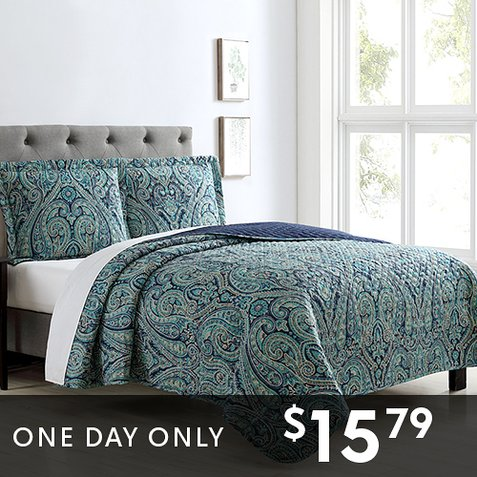 Up to 86% off 3-PC Quilt Sets : Only $15.79