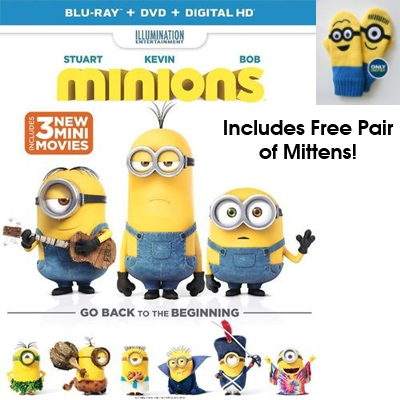 Minions on Blu-ray & DVD + Free Minions Mittens : $4.99 + Free S/H