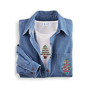Women's Holiday Denim Shirt Set : $14.97 + Free S/H