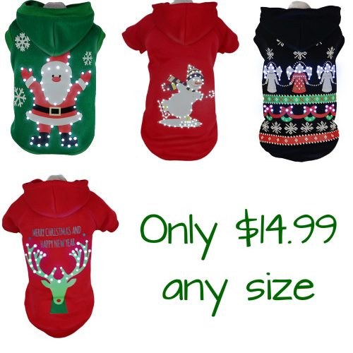 Light-Up Holiday Pet Sweaters : $14.99 any size