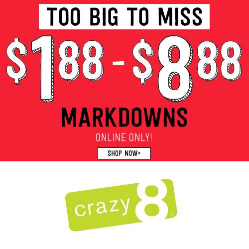 Crazy8 : Markdowns under $8.88