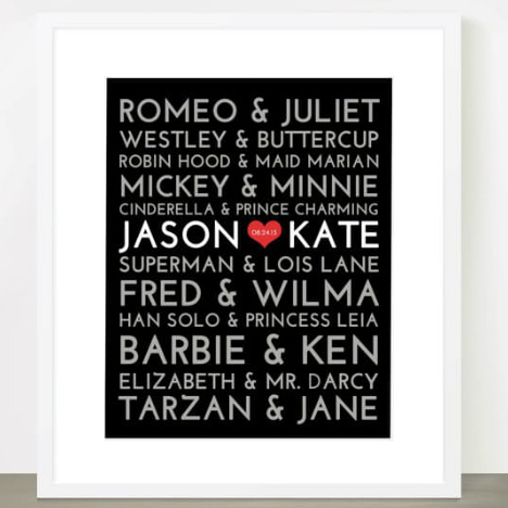 Personalized Couples Print : Only $9.99