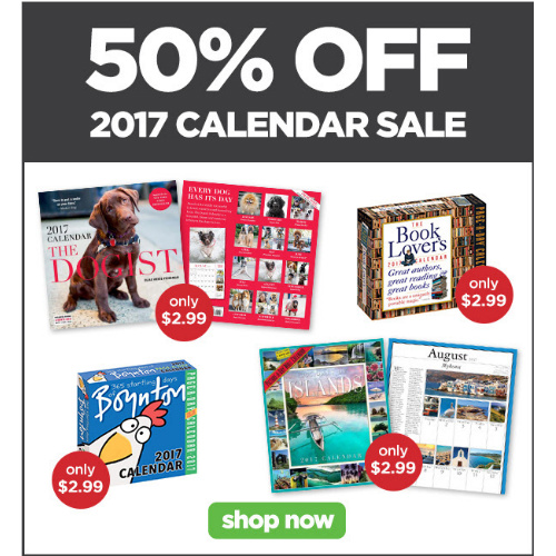 2017 Calendars : Extra 50% off Clearance Prices