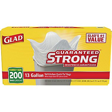 "200-CT Glad Kitchen Trash <span class=""search-everything-highlight-color"" style=""background-color:orange"">Bags</span> : Only $12.99"