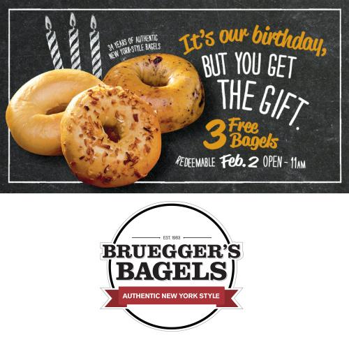 Bruegger's : 3 Free Bagels