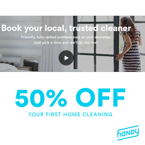 Handy.com : 50% off your 1st Home Cleaning