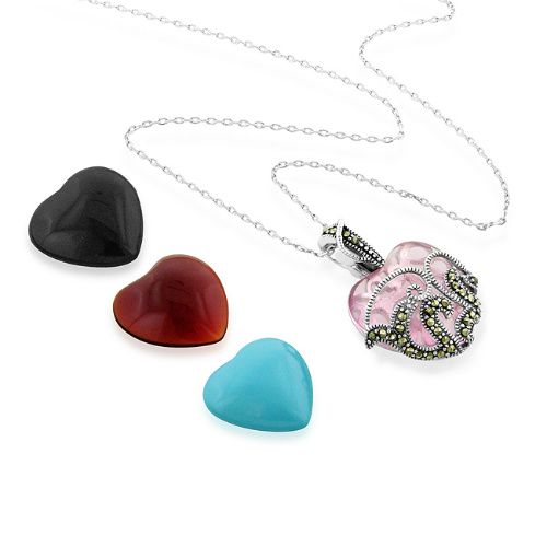 Interchangeable Multi-stone Heart Pendant : $18 + Free S/H