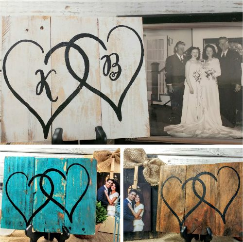 Personalized Double Heart Pallet Art : $21.48 Shipped