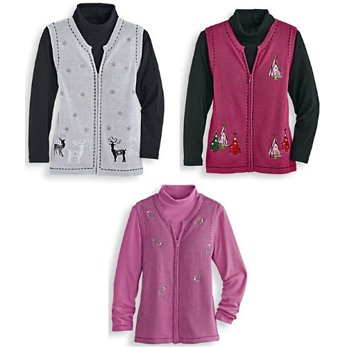 Women's Holiday Sweater Vest : $5.97 & $9.97 + Free S/H