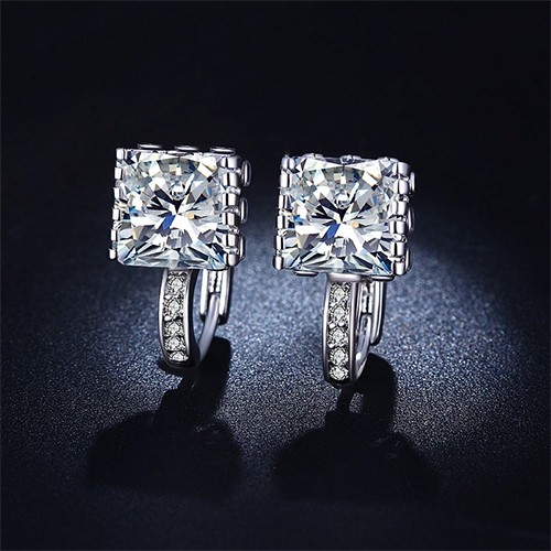 Princess-Cut Crystal Earrings : Only $13