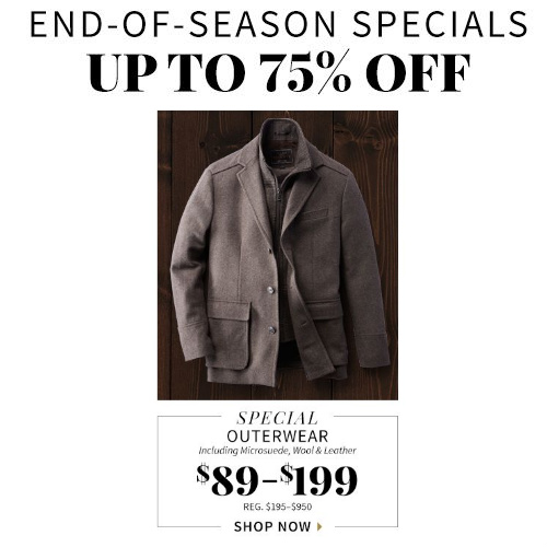 Men's Outerwear : Up to 75% off + Free S/H