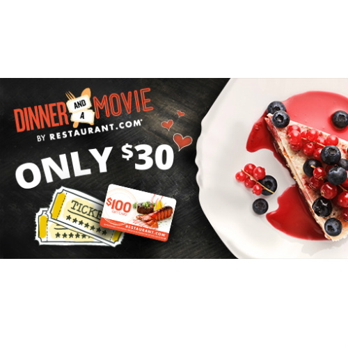 $100 Restaurant.com Gift Card and 2 Movie Tickets : Only $30