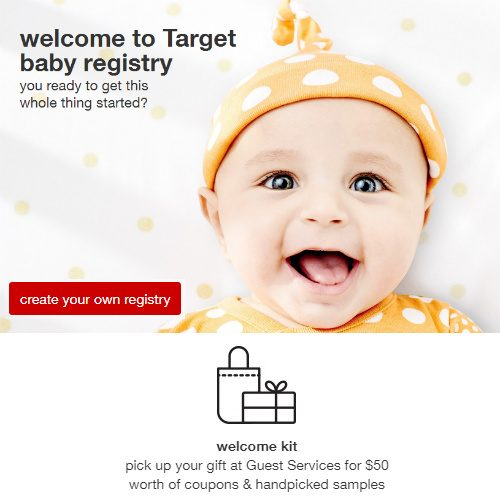 Target Baby Registry : $50 in Free Coupons and Samples