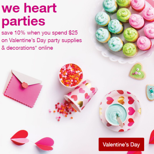 Target : 10% off $25+ Valentine's Day Party Supplies