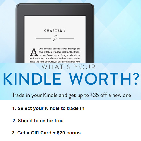 kindle trade in promo free amazon gift card 20 off a new kindle. Black Bedroom Furniture Sets. Home Design Ideas