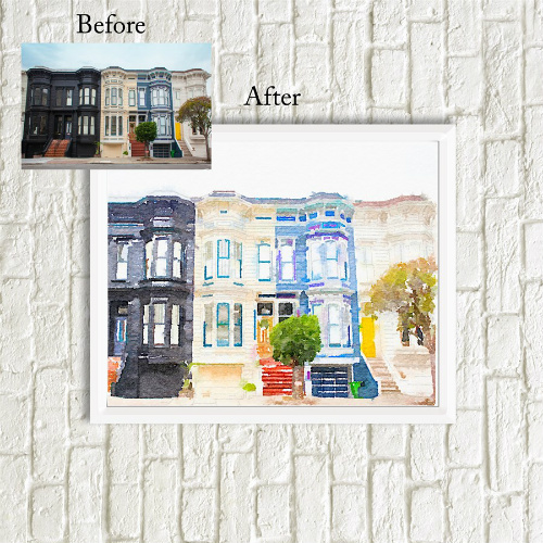 85% off Custom Watercolor House Print : Only $9.99