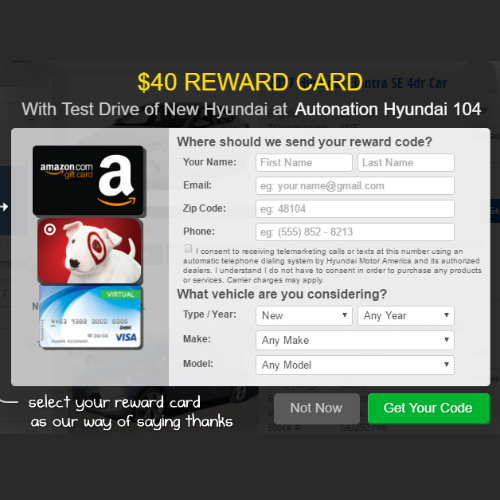 Hyundai : Free Gift Card for Taking a Test Drive