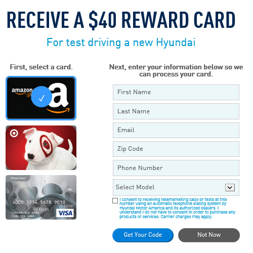 Hyundai : Free $40 Gift Card for Taking a Test Drive