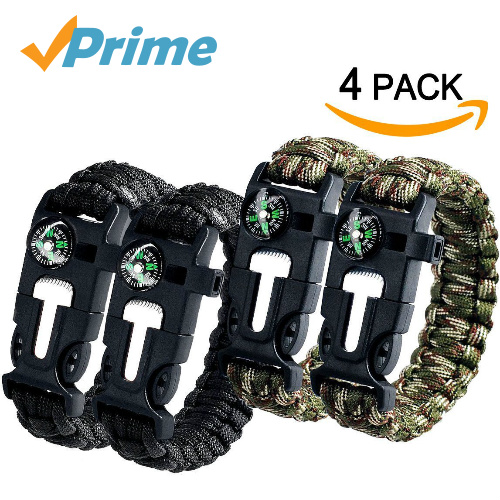 4-PK of Survival Bracelets : Only $11.99