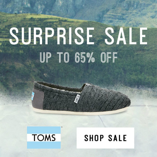 Tom's Shoes : Up to 65% off Surprise Sale